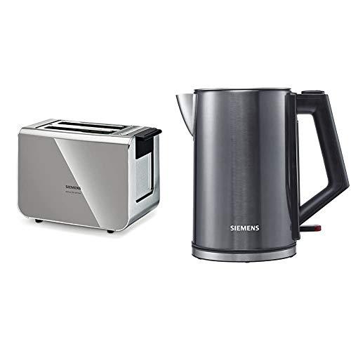 Siemens TT86105 Toaster 860 Watt für 2 Scheiben Toast, wärmeisoliertes Gehäuse, urban grau & TW71005 Wasserkocher (1850-2200 Watt, 1,7 Liter, Cordless 360 Grad Basis) edelstahl