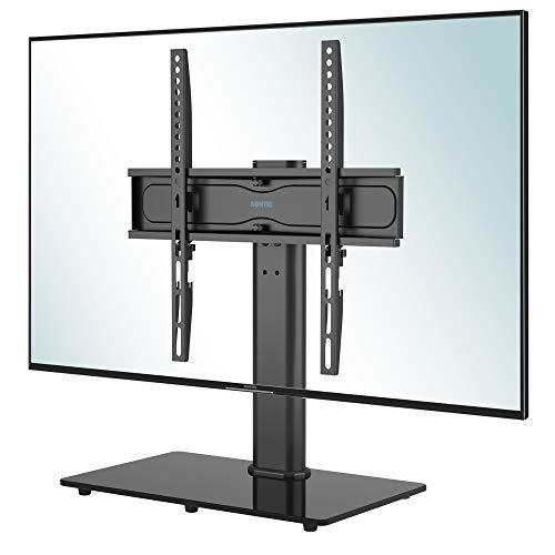 BONTEC Soporte Pedestal TV Peanas para TV Giratorio Soporte Mesa TV de 26-55 Pulgadas LED/LCD/Plasma/Curva/Plana, Giratorio & Altura Ajustable Plano y Curvo de hasta 40 kg, máx. VESA 400x400 mm