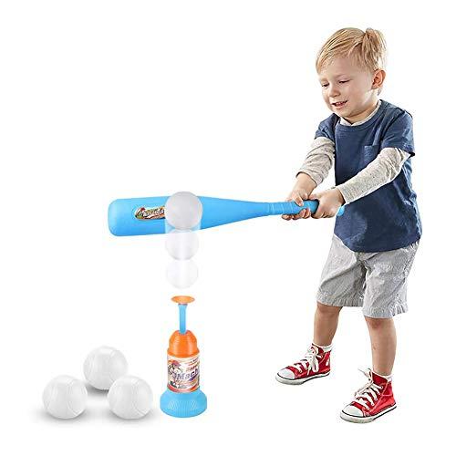 Tボールセット、自動ランチャー野球バットのおもちゃ、ブルーバット1個、ボール3個、親子の相互作用を促進、6歳以上の屋内屋外スポーツおもちゃ