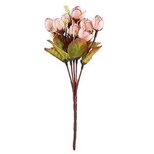 YOUTHINK Artificial Plants,8.7″ Fake Tea Bud Flower Bouquet 15 Heads Artificial Shrubs Silk Flower for Wedding Garden Office Verandah Home Decor