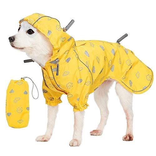 Blueberry Pet 14' Reflective Cloud Prints Lightweight Waterproof Dog Raincoat with Hood & Harness Hole, Sunflower Yellow, Outdoor Rain Gear Jacket 2 Legs for Dogs