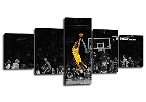 Basketball Player Kobe Bryant of Lakers at Staples Center in Los Angeles Pictures Print on Canvas Black and Yellow Background Match Wall Art Painting for Home Decoration Ready to Hang[50'W x 24'H]