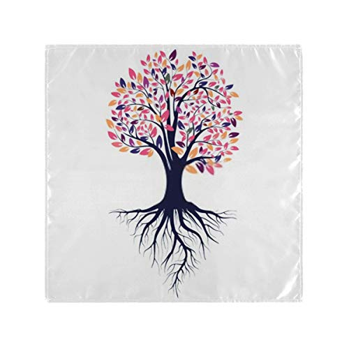 Satin Napkins Set Of 6, Autumn Silhouette Tree Colored Leaves Roots,square Printed Party & Dinner Cloth Napkins,20' X 20'