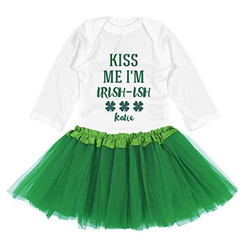Kiss Me I'm Irish-ish Katie Tutu Onesie: Baby Long Sleeve Bodysuit with Tutu