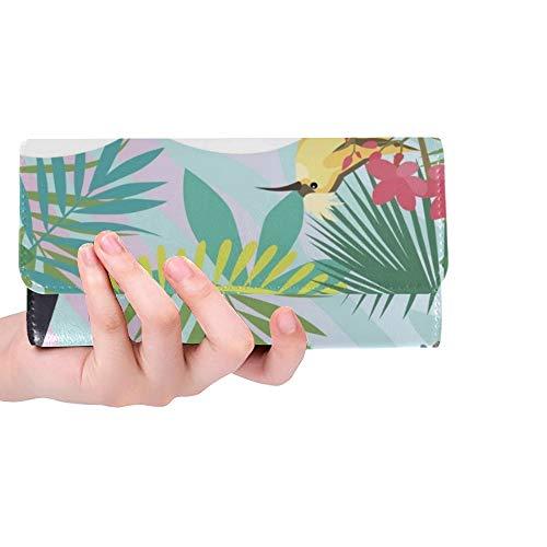 Einzigartige benutzerdefinierte helle Sommer Vorlage Tropic Pflanzen Tiere Frauen Trifold Wallet Lange Geldbörse Kreditkarteninhaber Fall Handtasche