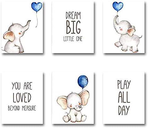 iMagitek Set of 6 Unframed Baby Boy Nursery Wall Art Prints Blue Elephant Nursery Wall Decor product image