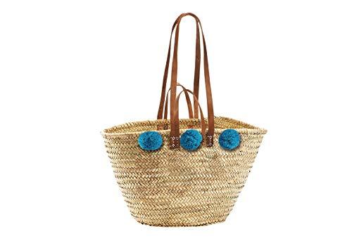 Kobolo Trendige Ibizatasche mit türkisen Bommeln aus Palmblatt geflochten