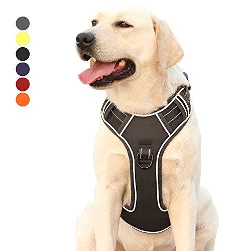 Hundegeschirr für Große Hunde Anti Zug Geschirr No Pull Sicherheitsgeschirr Kleine Mittlere Hunde Brustgeschirr Reflektierendem Dog Harness Weich Gepolstert Atmungsaktiv Schwarz XL