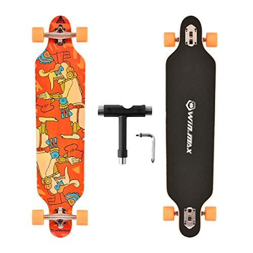 WIN.MAX Longboard Skateboard, 7-lagigem Ahornholz Cruiser komplettes Board, mit ABEC-11 Kugellagern und T-Tool (Maya)