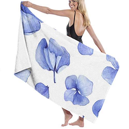 wusond Toalla de baño Microfibra Super Suave Toalla de baño Hortensia Azul Acuarela Patrón sin Costuras Flor Alta absorción de Agua, Multiuso 80cm * 130cm para baños, hoteles, gimnasios y SPA