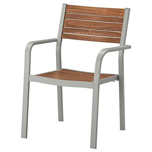 IKEA ASIA Sjalland Sedia con braccioli per Esterni Grigio Chiaro Marrone Chiaro