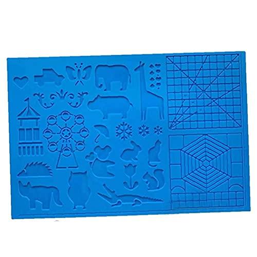 EElabper Silikon-Zeichenbrett 3D Pen Mat 3D Pen Stencils Buch 3D Pen Zeichenwerkzeuge Blau