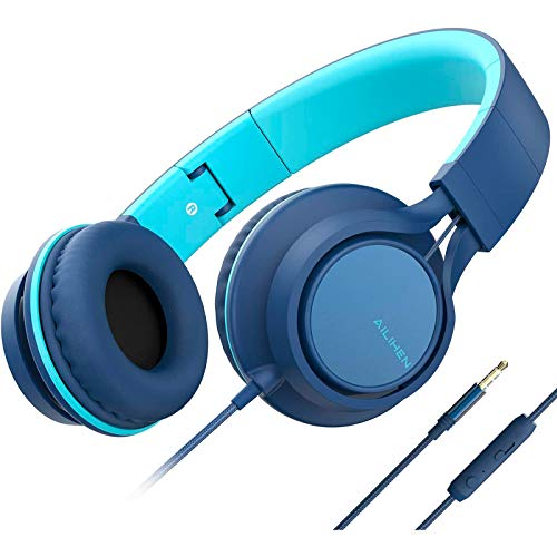 AILIHEN C8 (Upgraded) Headphones with Microphone and Volume Control Folding Lightweight Headset for Cellphones Tablets Smartphones Chromebook Laptop Computer PC Mp3/4 (Indigo)