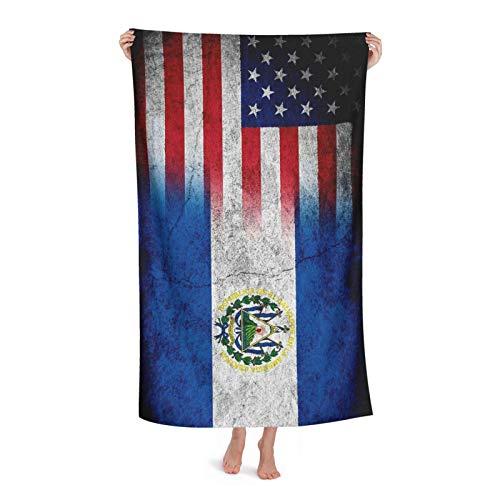 Strandtuch Flagge Von EL Salvador Mit Amerikanischer Flagge Strandtücher Saugfähig Saunatuch Groß Fitnesshandtuch Für Outdoor Reise Wandern 80X130 cm