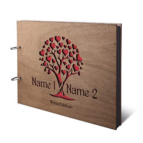 Hochzeit Fotoalbum Okoume Holz Gravur individuell Holzcover mit 50 Fotokarton 300g/qm schwarzen Innenseiten (25 Blätter) DIN A4 quer 302 x 215 mm - Herzbaum