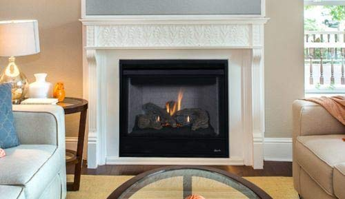Fantastic Prices! 40'' Louverless Rear Vent Fireplace w/Logs and Electronic Ignition - NG