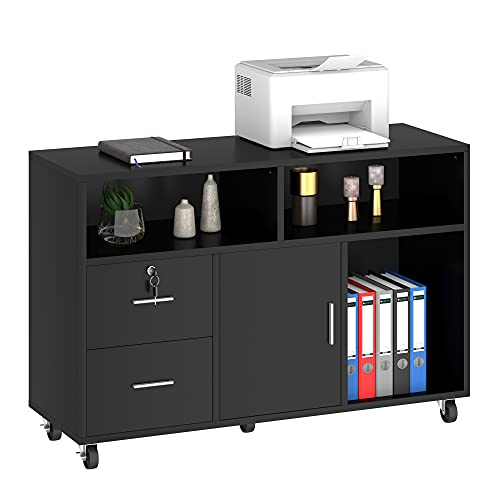 YITAHOME Wood File Cabinet, 2 Drawer Mobile Lateral Filing Cabinet, Storage Cabinet Printer Stand with Lock and Open Storage Shelves for Home Office, Black