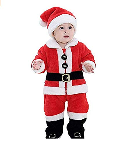OikMombiu Toddler Baby Boys Girls Christmas Outfit Coat Pants Socks Hat 4PCS Santa Claus Xmas Clothes (4Pcs Santa Pants Outfit, 2-3 Years)