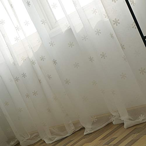 1 Panel White Snowflake Embroidered Linen Sheer Curtain Panel Drapes 84 Inch Long Country Curtain for Sliding Glass Door Rod Pocket Voile Tulle Nursery Window Treatments for Living Room, 1 Panel