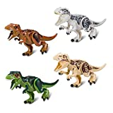 4 Sets Large Size Lifelike Multicoloured 3D Jigsaw Puzzles T-Rex Dinosaur Building Blocks for Children (Larger Size, White + Coffee + Yellow + Green)