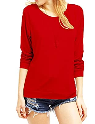 Haola Women's Long Sleeve Tops Round Neck Casual Teen Girls Tees Loose T Shirts Blouse L Red
