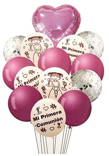 NOBRANDED Set de Globos mi Primera comunion Rosa, Varios Modelos, Decoracion para casa, Fiestas de cumpleaños.