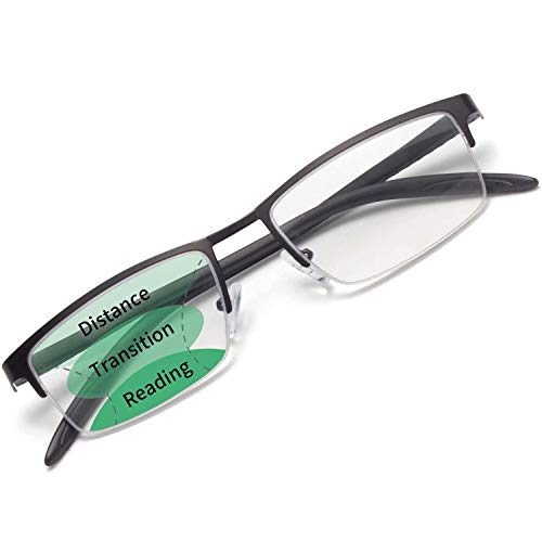 Amorays Mens Anti-Blue Soft TR Progressive Reading Glasses Multifocus Blue Light Blocking Computer Readers for Men Black 2.50