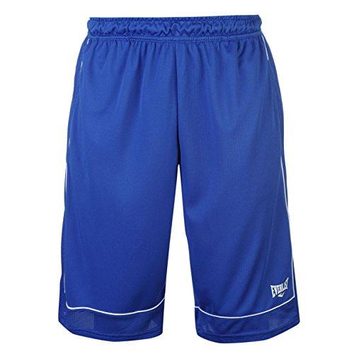 Everlast - Pantalones cortos de baloncesto para hombre, sueltos, ropa deportiva, Todo el año, Hombre, color azul y blanco, tamaño XL