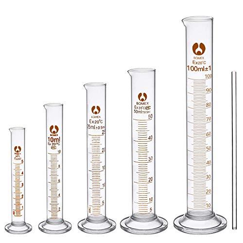 cococity Set da 6 Vetro Cilindro Graduato, 5ml 10ml 25ml 50ml 100ml et Barra di Agitazione, Kit Accessori per Laboratorio, Chimica