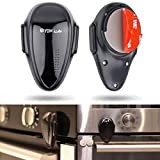 Oven Child Safety Locks, Set of 2, Heat-Resistant 3M Adhesive Locks for Kitchen Childproofing, Double Button Design, Stove Guard Security, Suitable for Washing Machine, Dishwasher and Microwave, Black
