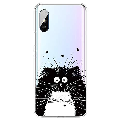 SEEYA Funda para Xiaomi Redmi 9A Carcasa Silicona Transparente con Dibujos Gato Negro Blanco Flexible y Ligera Cover Ultra...