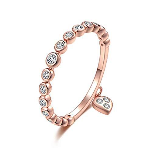 yichahu Anillos de lujo con incrustaciones redondas de circonita blanca y flor para mujer, regalo de boda, joyería de oro rosa