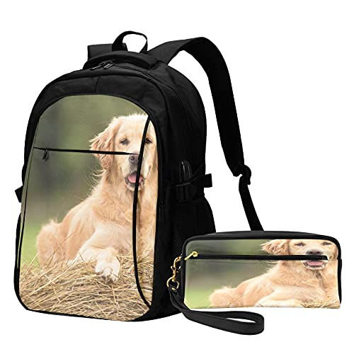 Business Backpack With Pencil Case Beauty Golden Retriever Dog Relax On...
