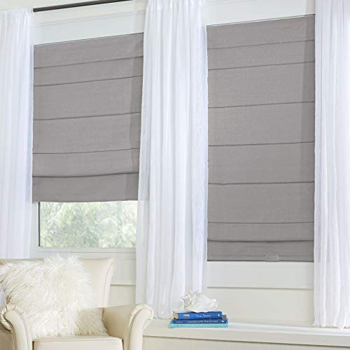 BrylaneHome Cordless Large Fold Woven Blackout Roman Shade - 33I W 64I L, Silver