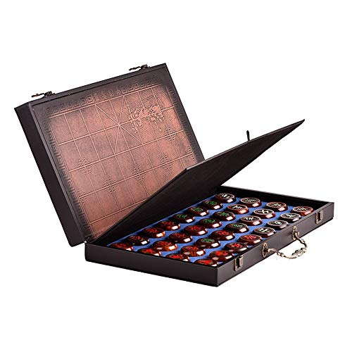 Fengbingl-toy Chinesisches Schachspiel Chinesisches Schach Xiangqi Holz Checker Game Set mit faltenden China Palisander Schachspiel High-End-Geschenk (Farbe, Größe : 185mmx220mmx20mm)