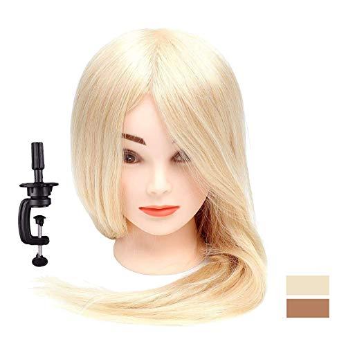 46-66cm 100% Echthaar ÜbungsKopf Blond idealer Trainingskopf Frisierkopf für Friseure Hochstecken Ausbildung Kopf Lange Haare mit Tischklemme 18