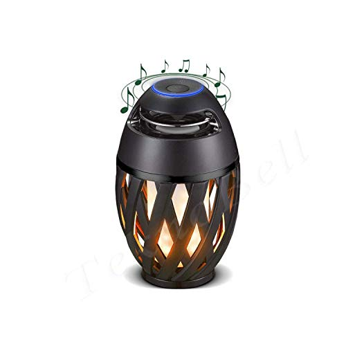 YAYY bedlampje met bluetooth-luidspreker, led-vlamlichtluidspreker, brandende vlammentafellamp, halloween verlichting, warm vlammeneffect, voor binnen en buiten, voor kamer, tuin, party en buiten