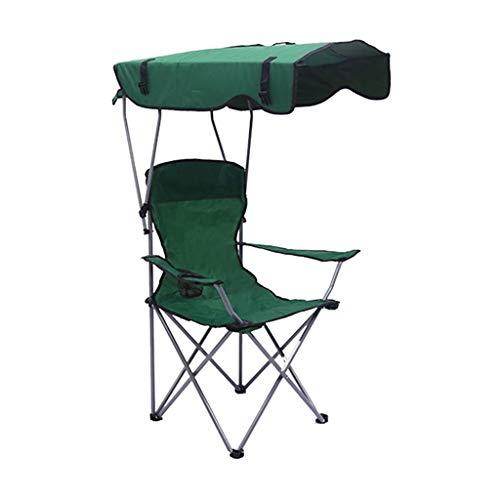 ZDDZ Silla de Sombra Plegable para Camping con Reposabrazos Sillas de Picnic Silla con Dosel para Exteriores Diseño Perforado y Base Antideslizante para Playa Patio Piscina Parque Al Aire Libre