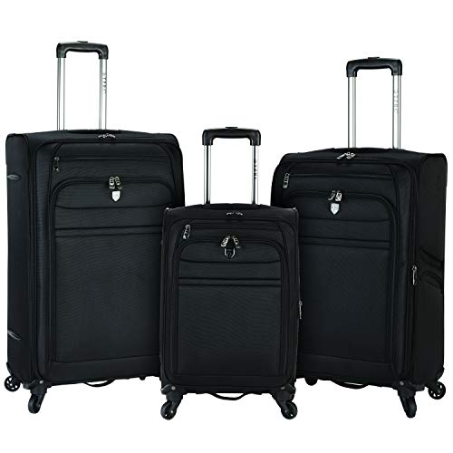 Travelers Club Business Class Expandable Spinner Luggage, Executive Black, 3 Piece Set (20/24/28)