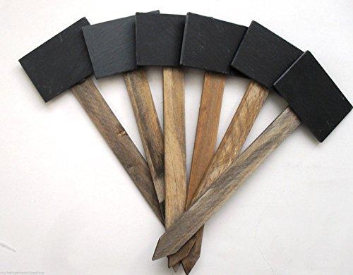 6 Gartenstecker aus Schiefer, 7,5 x 34 cm, Farbe: braun/schwarz