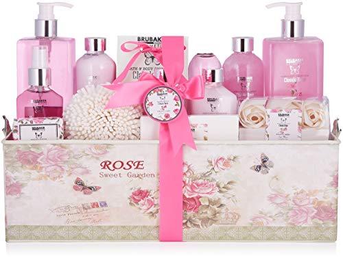 BRUBAKER Cosmetics Bade- und Dusch Set Rosen Duft - 17-teiliges Beauty Geschenkset in Vintage Geschenkbox