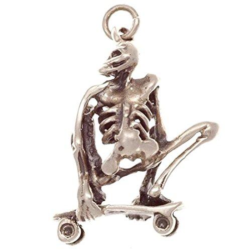 Skelett auf Skateboard Silber 925 Anhänger Skater Gothic