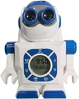 QiKun-Home Creative Space Robot Projection Alarm Clock Rolig tecknad klocka Student Alarm Clock Presentdekoration vit + blå