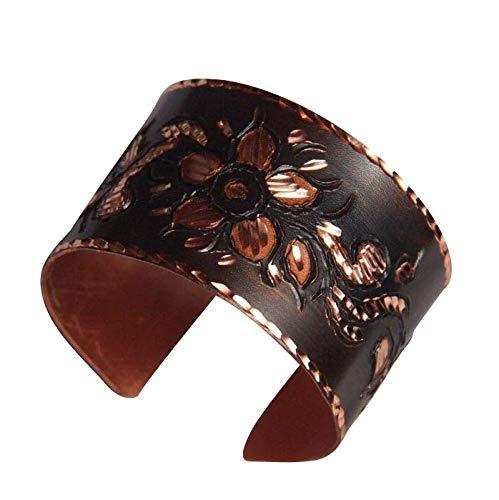 Orient-Feinkost Kupfer Armreif Armband Spange DUNKEL mit Blumenmotiv - Handarbeit - Hautfreundlich beschichtet