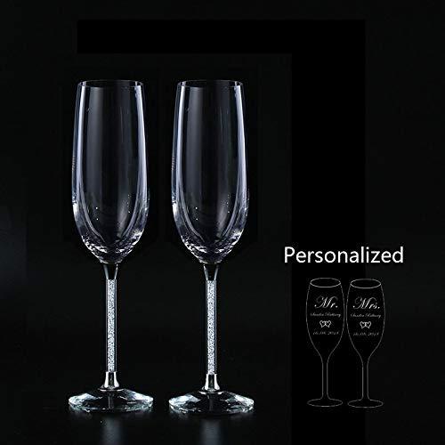 SMNHSRXH schuin bruiloft glazen personaliseren champagne fluiten goudkristal partij glazen beker bruiloft decoratie bierpul