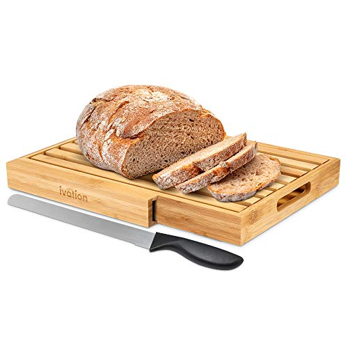 """Ivation Bread Cutting Board Server with 15"""" Stainless Steel Bread Knife 