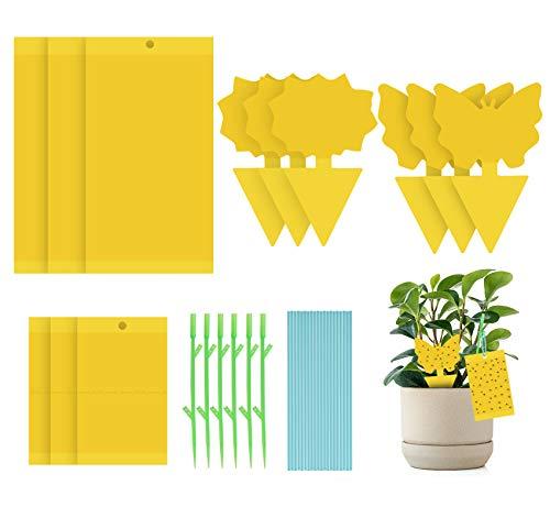 Homewit Fliegenfänger, 36pcs Gelbsticker Fruchtfliegenfalle - Fliegenfalle hängende und steckbare Gelbtafeln Gelbsticker, Blattläuse für Topfpflanze gegen trauermücken Blattläuse