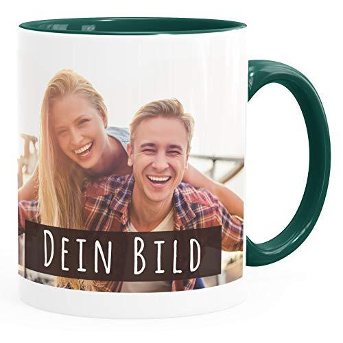 SpecialMe® personalisierte Fototasse mit eigenem Foto persönliches Geschenk Kaffeetasse mit Bild selbst gestalten inner-grün Keramik-Tasse