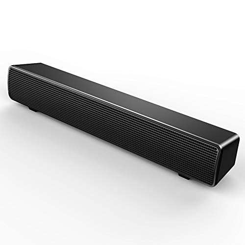 SADA Barra de sonido altavoces de estéreo de alta fidelidad con cable, barra de sonido de graves ricos alimentados por USB, altavoz para PC, TV, teléfono inteligente, tabletas, escritorio y portátil