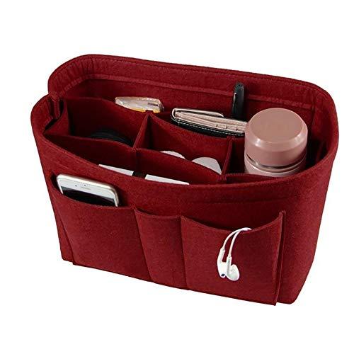 Xiton 1 PC Sac Fourre-Tout En Feutre Insert Trousse De Maquillage Organisateur Multifonctionnel Organisateur CosméTique Grande Capacité Pour Les Cartes De TéLéPhone Cellulaire Clutter Key (Rouge)
